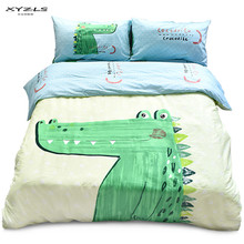 XYZLS Kids Cartoon Crocodile Bedding Set 100%Cotton Children Twin Queen Size Duvet Cover Flat Sheet Pillowcases Sets(China)