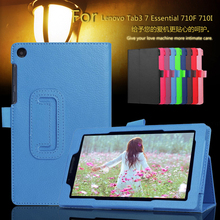 Ultra Thin Litchi PU Leather Tablet Stands Case Cover For Lenovo Tab3 7 Essential 710F 710I PC Film + Pen(China)