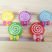 50Pcs Mixed Resin lovely Lollipop Sweets Flatback Cabochon Hair Accessory Fit Phone Embellishment 19 * 27mm(China)