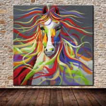 No Frame Hand-painted Modern Wall Art Pictures Living Room Home Decoration Abstract Horse Cartoon Animal Oil Paintings On Canvas(China)