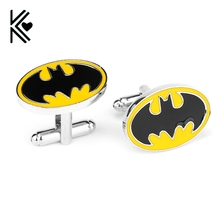 Superhero Style Black With Yellow Enamel Batman Fashion Cufflinks For Mens Shirt Brand Cuff Buttons High Quality Cuff Links Gift