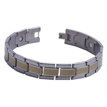 "Mens13MM Titanium Magnetic Therapy Link Bracelet Negative Ion Germanium Power Health Wrist Band 8.5"" Golden Silver Tone(China)"