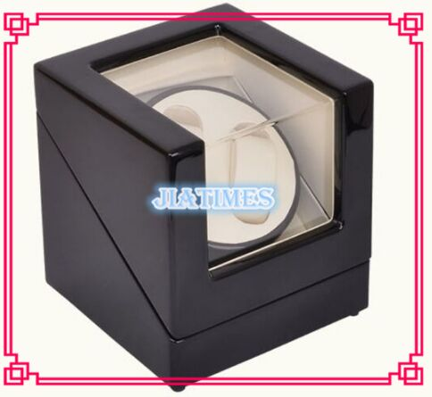 Luxury 2 Black + White Watch Auto Winder Black Wood Case Cream Velvet Interior Lock Wooden Watch Winder<br><br>Aliexpress