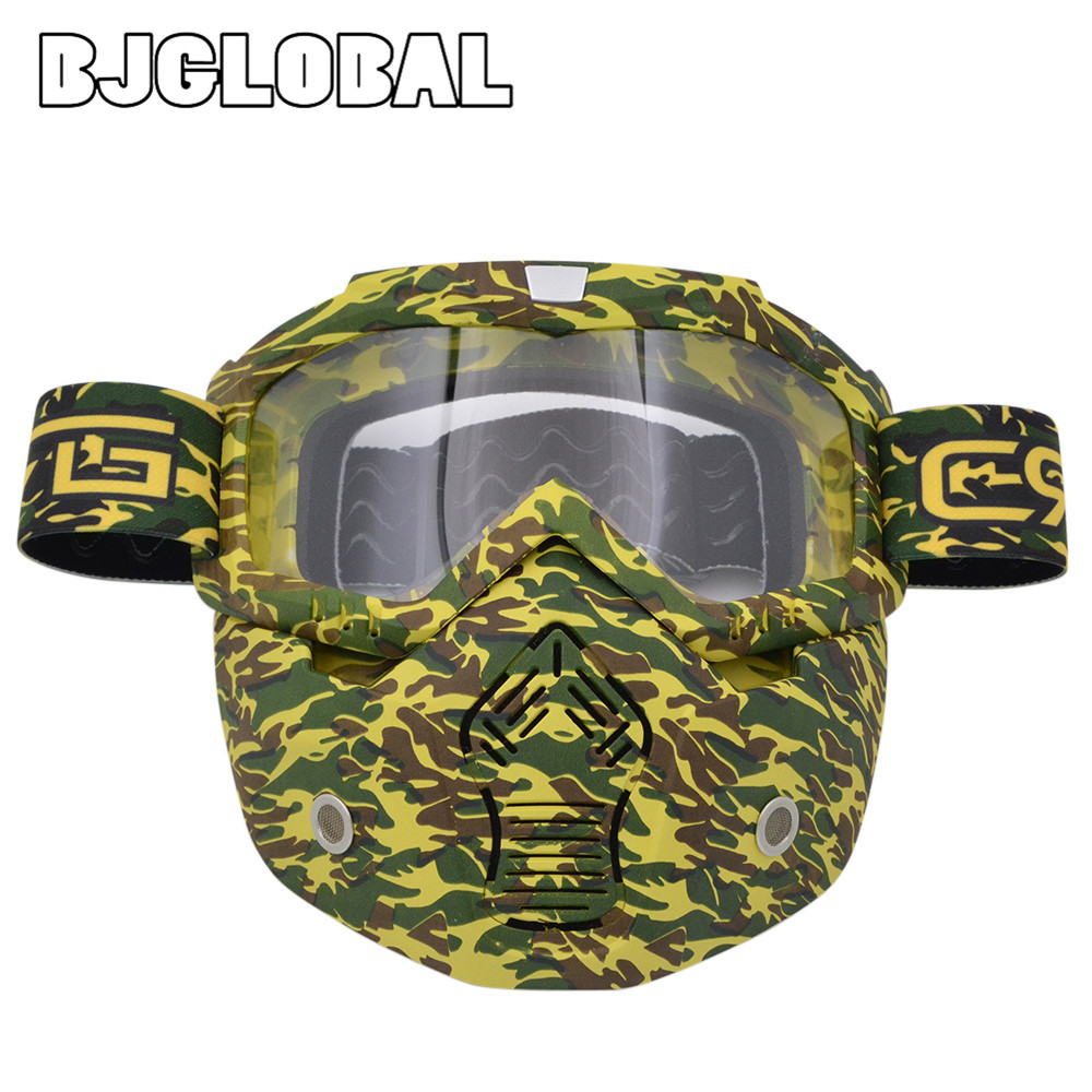 BJGLOBAL 2018 Motocross Goggles Dirt Bike Glasses Helmets Face Dust Mask With Detachable Motorcycle Goggle Oculos Gafas