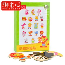Cartoon wooden magnetic puzzle toy colorful animal letter lion pig panda monkey elephant hippo dog fridge Refrigerator magnet