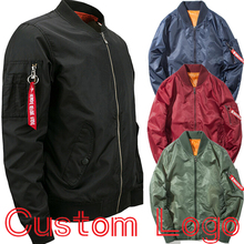 Male Winter Bomber Jacket Custom Logo Design Pilot Coat Men Plus Size 5XL 6XL 7XL 8XL Olive Green Navy Black Burgundy Red Print(China)