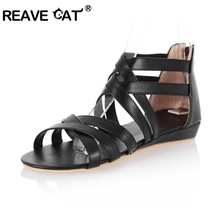 REAVE CAT Big Size 34-43  Gladiator Summer Women Wedge sandals Elegant Fashion Casual Fretwork Cover Heel Summer shoes Cute Hot