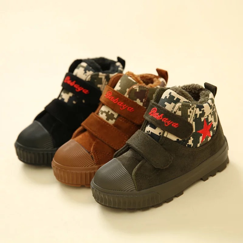 2016 brand designer fashion warm flock sport boys school infantil sneaker kids Winter casual shoes children boy ankle snow boots<br>