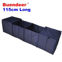 Buendeer 115cm long Car Organizer Boot Stuff Storage Bags Organiser Car Stowing Tidying Back Collapsible Trunk Box Navy Blue(China)