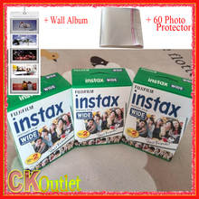 60 Sheets Fujifilm Instax Wide White Film + Free 1 Wall Album & 60 Photo Protector For Polaroid Instax Camera 300 200 210 100