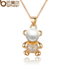 BAMOER  Gold Color Animal Bear Necklaces & Pendants with Paved Micro AAA CZ Cubic Zircon For Women Jewelry JIN021