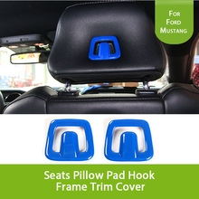 Car Inner Accessories Blue Seats Pillow Pad Hook Frame Trim Cover Stickers For Ford Mustang 2015 2016 2017(China)