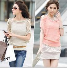 BK Women Sweater Tops 2014 New arrival Women Batwing Sleeve Pullover Sweater Loose O-Neck Strapless Crochet Sweater