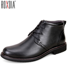 ROXDIA genuine leather men boots snow winter causal warm work shoes male mens waterproof ankle boot plus size 39-45 RXM049