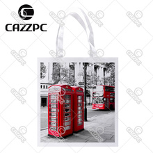 London City Styel Retro Red Telephone Boxes Print Custom Non-Woven Fabric Reausble Grocery Shipping Storage bag Pack of 4