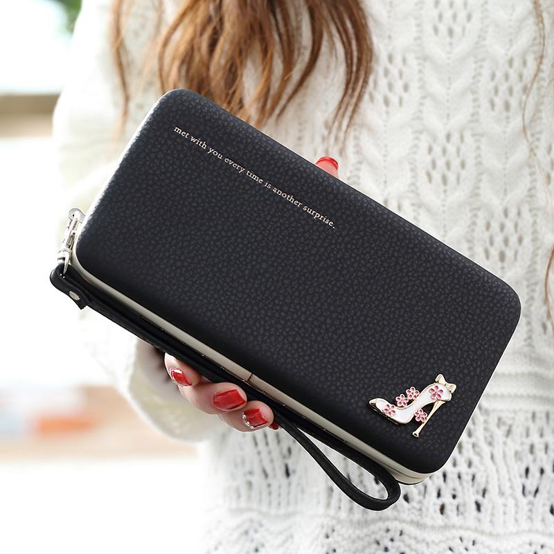 Leather Wallet Women Purse Phone Bag Case (14)