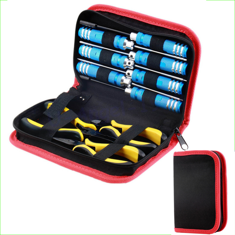 Wholesale 10pcs/set Ball Link 10 in 1 Screwdriver Pliers Hex Hand Repair Tools Kits(1set) FOR RC Helicopter rc tools set<br>