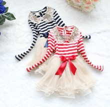 Retail Girl Dresses Sequins Collar Stripe Gauze Long Sleeve Fashion Dresses Red Blue 31001(China)