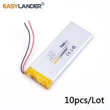 10pcs /Lot 3.7v lithium Li ion polymer rechargeable battery 402772 760MAH For iPhone 4 Mobile Phone battery pack Watch PDA(China)