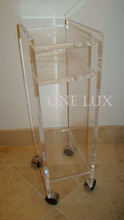 ONE LUX Sculptural Rolling Lucite Rolling Magazine Table Stand,Acrylic Book Cart On Wheels