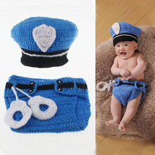 Police Design Newborn Photography Props Navy Blue Crochet Baby Beanie hat with Diaper Cover Outfits Baby Shower Gifts Costume