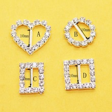 New! 10pcs/Set Four Shapes Rhinestone Buckles Diamond Crystal Flatback for Hair bag Wedding Invitation Card DHL free shipping(China)