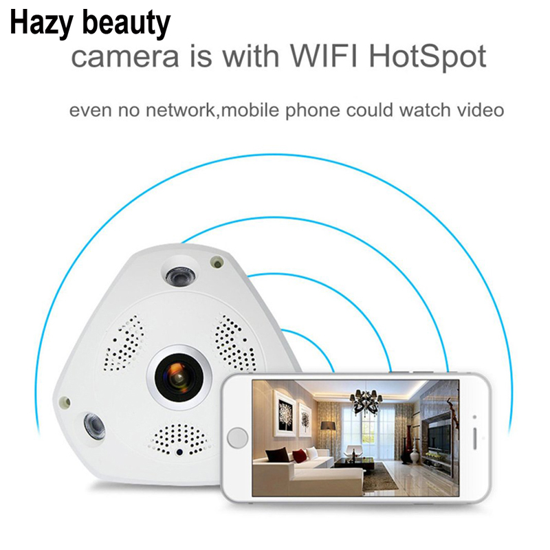 Hazy beauty Wireless 1.3mp Fisheye Ip Camera VR Panoramic CCTV Security Network Mini Fish Eye 360 Degree Onvif Camera<br>