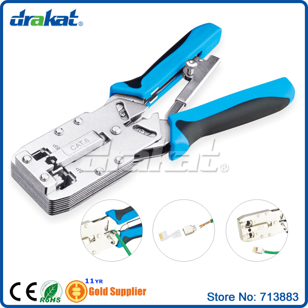 Ratchet RJ45 RJ11 Cat 6 crimping tool<br>
