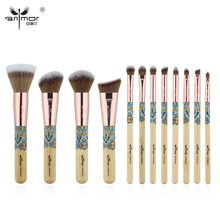 Anmor New 12PCS Make Up Brushes Bamboo Professional Makeup Brush Set Soft Synthetic Cosmetics Brush Kit
