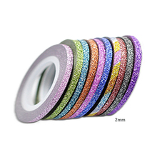 1Pcs 10 Colors 2mm Rolls Striping Tape Line Nail Art Sticker Tools Beauty Glitter Tips Decorations for Nail Stickers BENC383(China)