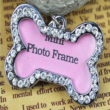 MINI Bone Shape Diamond Photo Frame Dog Tags Personalized Cat Puppy ID Tag Pet Accessories