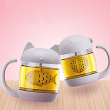Novelty 1Pc 250ml Wheat Fiber Glass Cups Tea Leaf Strainer and Tea Infuser Cute Cartoon Cats Monkey Cups Drinkware Kids Gift(China)
