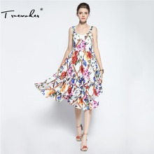 Truevoker Summer Designer Dress Women High Quality Fancy Flower Printed Ruffle Patchwork Knee Length Spaghetti Strap Vestidos(China)