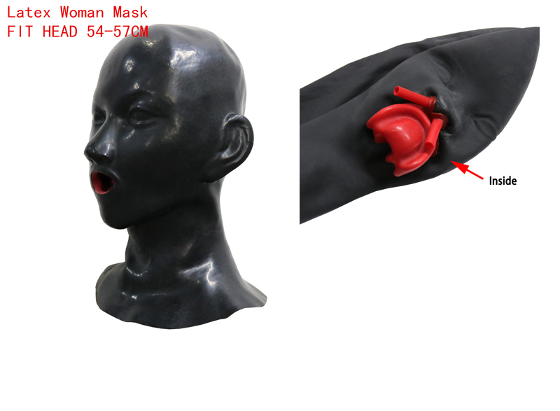 Beauty Woman Latex Mask Hood Closed Eyes Fetish Hood Red Mouth Sheath Tongue Nose Tube Fit Head 54-57CM