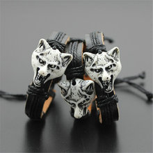 Hot Selling Europe And America Vintage Wolf Leather Bracelett Hemp Rope Woven Bracelet Leather Handmade Gift for Man And Women(China)