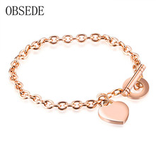 OBSEDE Fashion Women Jewelry Heart Pendant Stainless Steel Bracelet Rose Gold Color Charm Women Bracelet Vintage for Gift(China)