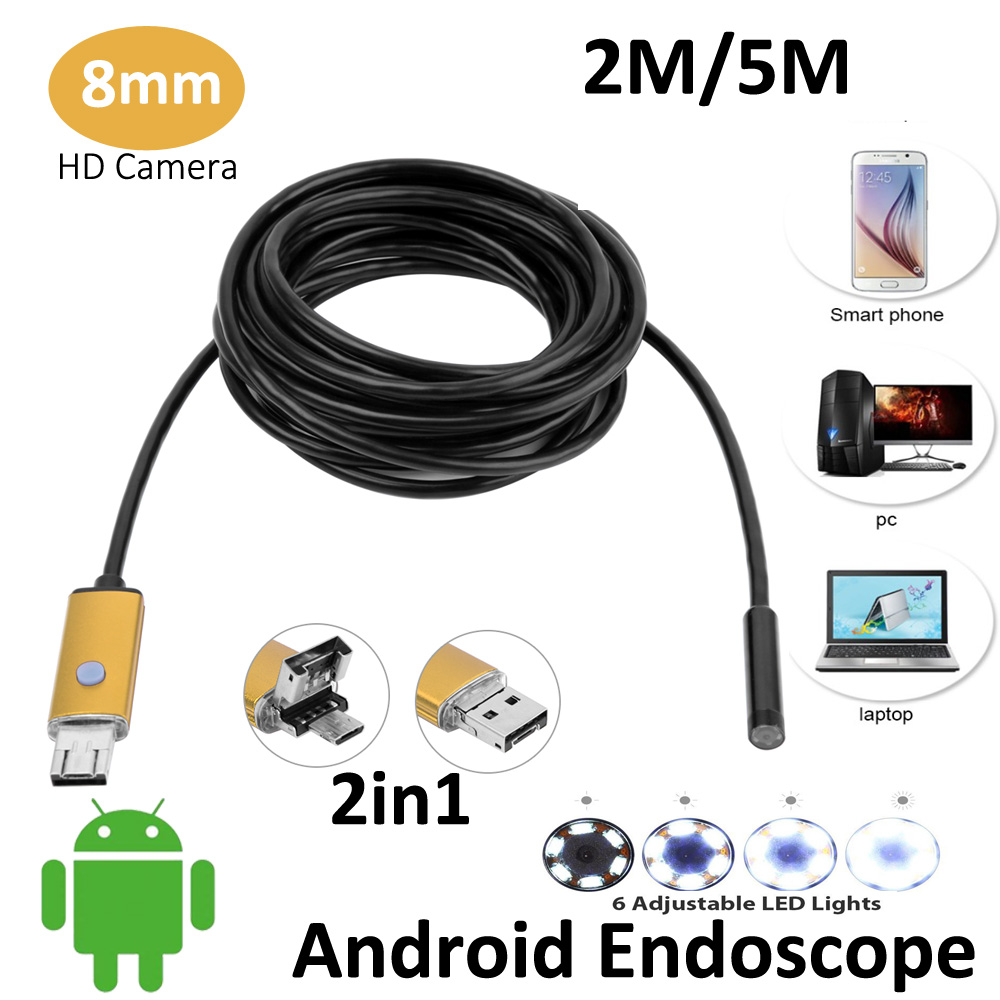 2016 New 2MP 5M 2M Android USB Endoscope Camera 8mm Lens AN99 Flexible USB Snake Camera HD720P Android USB Borescope Camera(China (Mainland))