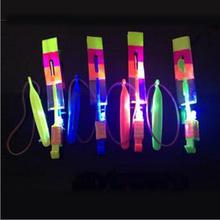 800PCS DHL Shining Rocket Blue Light Copter Arrow Helicopter Neon Led Light Amazing Elastic Powered LED Arrow Helicopter Flying(China)