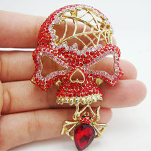 Fashion Jewelry Retro style Halloween Skull Spider Hot Pink Rhinestone Crystal Brooch Pin Pendant