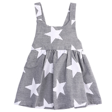 baby dress 2016  kids girls star printed dress summer beach sundress sleevless striped sling casual dress