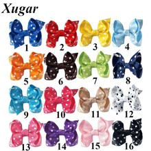 4Pcs/lot 2.5 '' Girls' Mini Dot Printed Grosgrain Ribbon Hair Bow Handmade Hairclips Candy Color Hairgrips Kids Hair Accessories(China)