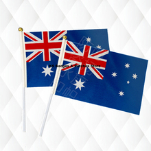 Australia Hand Held Stick Cloth Flags Safety Ball Top Hand National Flags 14*21CM 10pcs a lot(China)
