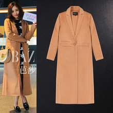 Paris fashion Women Wool Coat With Quilting Long Winter Woolen coats Lapel Camel Fashion Casual Wool Pea coats Oversize 3632