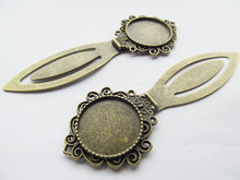 20pcs Antique Bronze Hair Kanzashi/Bookmark Base Setting Tray Bezel Pendant Charm,Fit 20mm Cabochon/Picture/Cameo,DIY Accessory