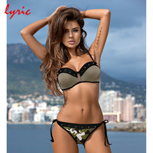 lyric Push Up Thong Bikini Swimsuit For Women Cover Up Plus Size Strappy Sequin Bordered Bathing Suit 2018 New Swimming Costume(China)