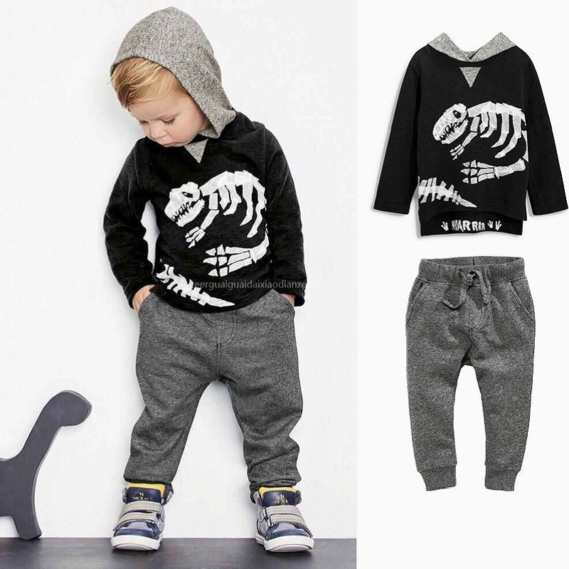 2017 Spring Autumn Baby Boy Clothing Set Skeleton Dinosaur Long Sleeved Hooded Cotton Clothes Set Black T Shirt Pant 2 PCS Set<br><br>Aliexpress