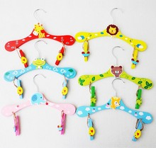 Hot Mixed Wood Cute Animal Cartoon Baby Children Coat Clothes Hooks Hangers For Clothes(China)