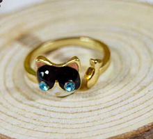 Free Shipping Trendy Zinc Alloy Blue Eyes Cute Cat Fish Animal Rings For Women/Men Fashion Jewelry