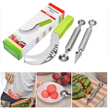 3pcs/set Watermelon Cutter Slicer Knife Corer Kitchen Tool Accessories Cutting Server Scoop Stainless Steel Fruit Vegetable - Online Store 521532 store