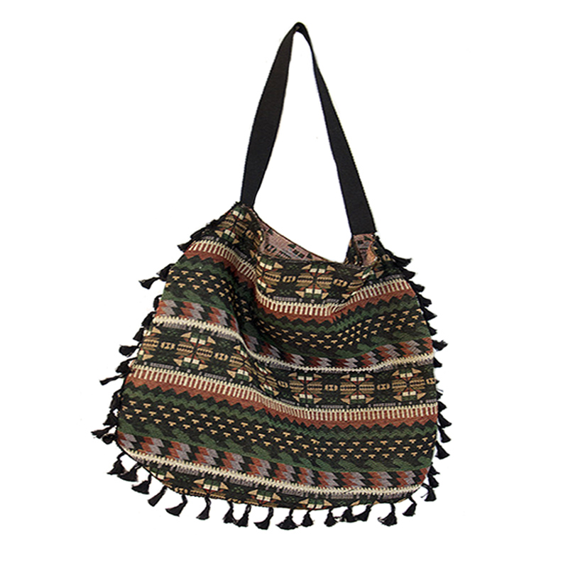 2c09494eef98 Women Vintage Shoulder Bag Tassel Ethnic Retro Casual Tote Female Folk Boho  Shopping Bag Knitting Woven ...